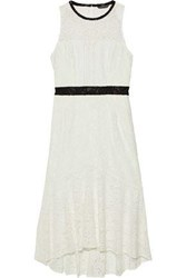Marissa Webb Sophia Fluted Cutout Corded Lace Midi Dress White