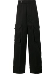 Rick Owens Wide Leg Cargo Trousers Black