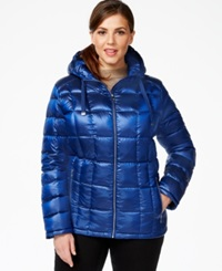 Calvin Klein Plus Size Packable Hooded Puffer Jacket Shine Sapphire
