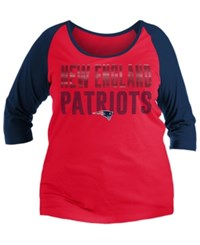 5Th And Ocean New England Patriots Plus Size Colorblock Raglan T Shirt Navy Red