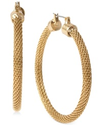 Kenneth Cole New York Gold Tone Mesh Hoop Earrings