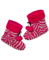 Pj Couture Plush Pink Zebra Slipper Boot With Pom Poms