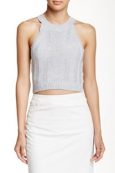 Madison Square Wilde Heart Alexi Cropped Knit Tank Gray