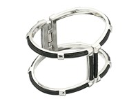 Cole Haan Genuine Leather Open Hinge Cuff Silver Black Leather Bracelet
