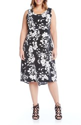 Karen Kane Plus Size Women's Floral High Low A Line Dress Black