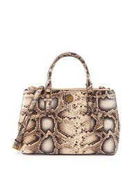 Tory Burch Robinson Mini Snake Embossed Double Zip Tote Bag Natural