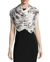 Roberto Cavalli Floral Voile Scarf Shawl Ice Gray