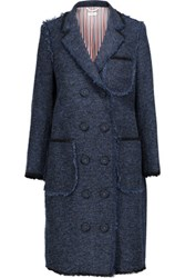 Thom Browne Fringed Wool Blend Boucle Coat Navy