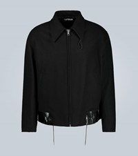 Our Legacy Wool Jacket With Leather Hem Black