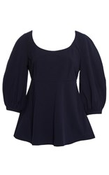 Tanya Taylor Nora Cotton Voile Top Navy