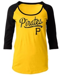 5Th And Ocean Women's Pittsburgh Pirates Sequin Raglan T Shirt Gold Black