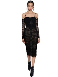 Dolce And Gabbana Off The Shoulder Stretch Tulle Dress Black