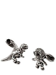 Title Of Work Troll And Dinosaur Silver Cufflinks