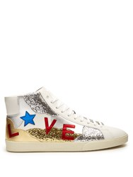 Saint Laurent Court Classic Glitter And Leather Trainers White Multi
