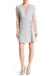 Research And Design V Neck Short Sleeve Front Tie Wrap Dress Gray