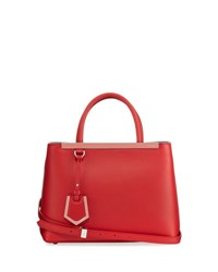 Fendi 2Jours Two Tone Leather Satchel Bag Red