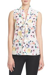 Women's Cece By Cynthia Steffe 'Demure Floral' Print Sleeveless Tie Neck Blouse