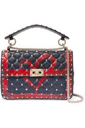 Valentino Garavani The Rockstud Spike Medium Quilted Leather Shoulder Bag Navy
