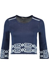 Maje Mathieu Cropped Jacquard Knit Sweater Navy