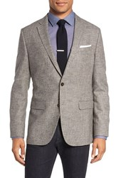 Boss Men's 'Nasley' Trim Fit Plaid Wool Sport Coat Tan