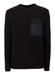 Topman Black Military Style Patch Pocket Jumper