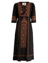 Figue Louise Embellished Silk Dress Black Multi