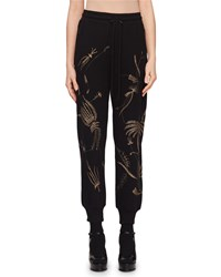 Dries Van Noten Floral Embroidered Pull On Jogger Pants Black White