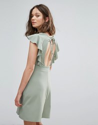 Daisy Street Skater Dress With Frill Sleeve And Open Back Pale Green