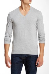 Ben Sherman Knit Elbow V Neck Pullover Gray