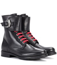 Dorateymur Combat Leather Ankle Boots Black