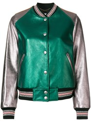 Coach Leather Bomber Jacket Green