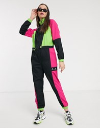 Lazy Oaf Track Jumpsuit In Neon Colour Block Black