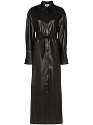 Nanushka Rosana Faux Leather Shirt Dress Black