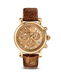 Versace Day Glam Ion Plated Rose Gold Watch With Golden Leather Band 38Mm Gold Brown