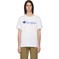 Champion Reverse Weave White Embroidered Script Logo T Shirt