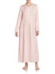 Oscar De La Renta Sleepwear Brushed Back Satin Long Gown Pink