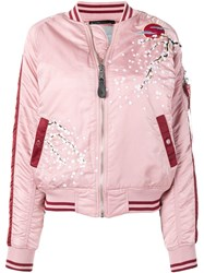 Alpha Industries Embroidered Bomber Jacket Pink