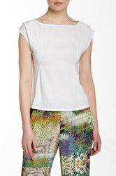 Lavand. Inverted Pleat Belted Blouse White