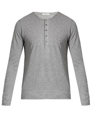 Adam By Adam Lippes Long Sleeved Cotton Henley Top Grey