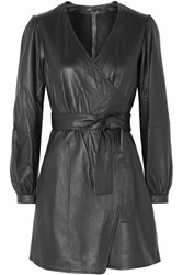 Maje Rosetola Leather Wrap Dress Black