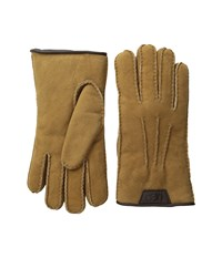 Ugg Casual Gloves W Debossed Leather Logo Chestnut Extreme Cold Weather Gloves Brown