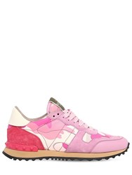 Valentino Garavani Rockrunner Leather And Suede Sneakers Pink Fuchsia