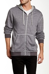 Burnside Drawstring Hooded Zip Sweater Gray