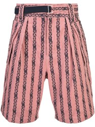 Sacai Floral Embroidered Shorts Pink