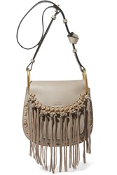Chloe Hudson Small Whipstitched Tasseled Leather Shoulder Bag Gray