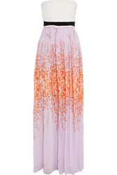 Giambattista Valli Strapless Printed Silk Chiffon Maxi Dress Multi