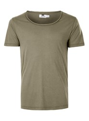 Topman Green Khaki Scoop Neck T Shirt