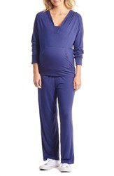 Everly Grey Women's Irene Maternity Nursing Pajamas Navy