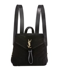 Saint Laurent Monogram Ysl Loulou Small Y Quilted Suede Backpack Black