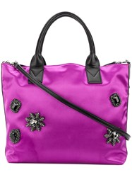 Pinko Embellished Tote Bag Pink And Purple
